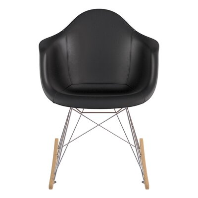 Genuine Leather Upholstered Dining Chair Upholstery: Milano Black, Finish: Natural