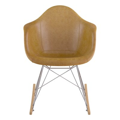 Genuine Leather Upholstered Dining Chair Upholstery: Aged Maple, Finish: Natural