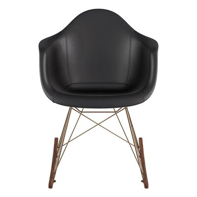 Genuine Leather Upholstered Dining Chair Upholstery: Milano Black, Finish: Walnut