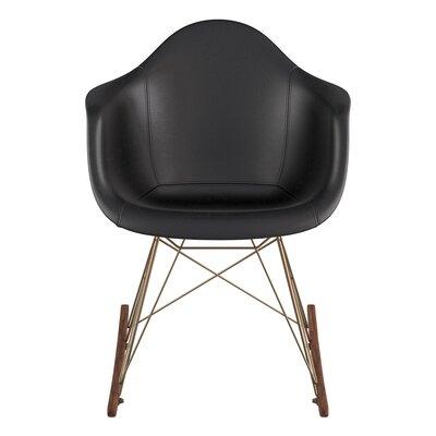 Arm Chair Upholstery: Milano Black, Finish: Walnut