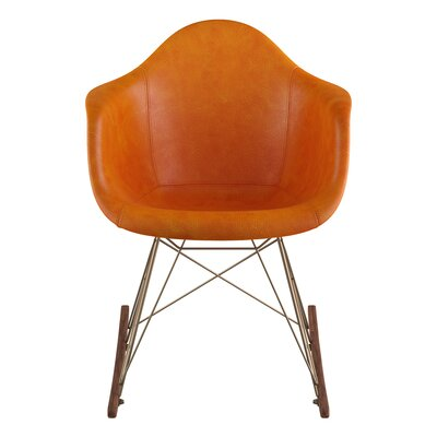 Genuine Leather Upholstered Dining Chair Upholstery: Burnt Orange, Finish: Walnut