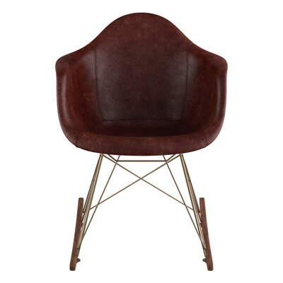 Genuine Leather Upholstered Dining Chair Upholstery: Aged Cognac, Finish: Walnut