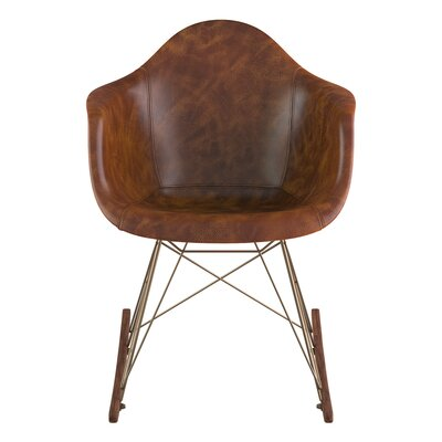 Arm Chair Upholstery: Weathered Whiskey, Finish: Walnut