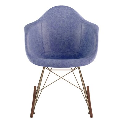 Arm Chair Upholstery: Weathered Blue, Finish: Walnut