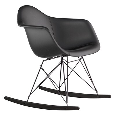 Genuine Leather Upholstered Dining Chair Upholstery: Milano Black, Finish: Gunmetal
