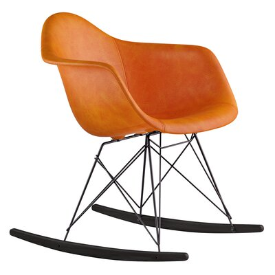 Genuine Leather Upholstered Dining Chair Upholstery: Burnt Orange, Finish: Gunmetal