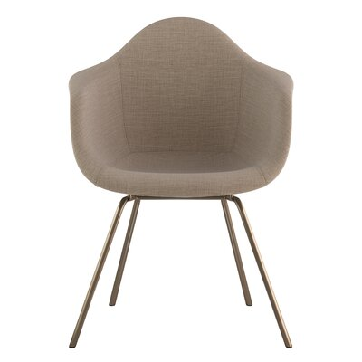 Classroom Arm Chair Upholstery: Light Sand, Finish: Brass