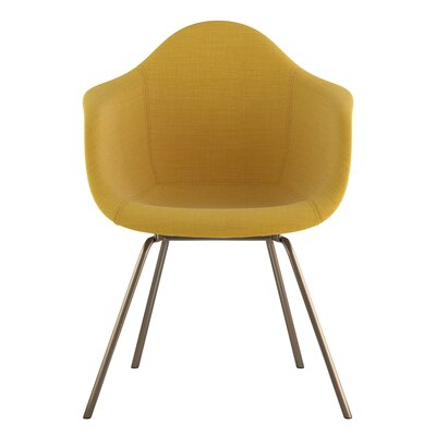 Classroom Arm Chair Upholstery: Papaya Yellow, Finish: Brass