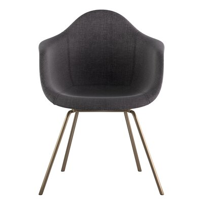 Classroom Arm Chair Upholstery: Charcoal Gray, Finish: Brass