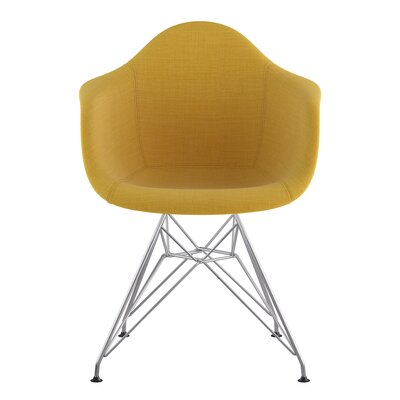 Eiffel Arm Chair Upholstery: Papaya Yellow, Finish: Nickel