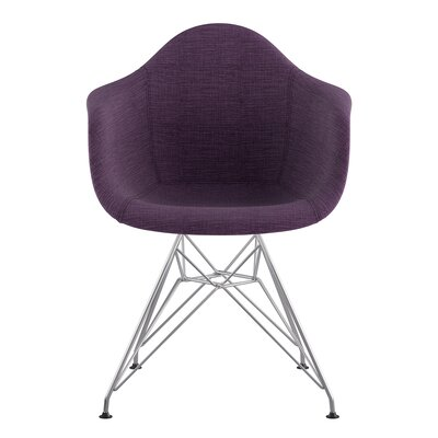 Eiffel Arm Chair Upholstery: Plum Purple, Finish: Nickel