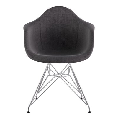 Eiffel Arm Chair Upholstery: Charcoal Gray, Finish: Nickel