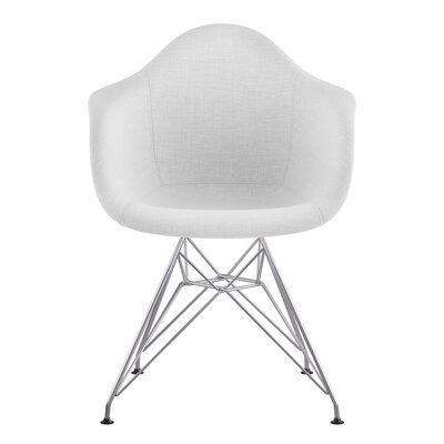 Eiffel Arm Chair Upholstery: Glacier White, Finish: Nickel