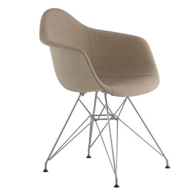 Eiffel Arm Chair Upholstery: Light Sand, Finish: Nickel