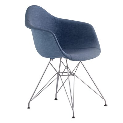 Eiffel Arm Chair Upholstery: Dodger Blue, Finish: Nickel
