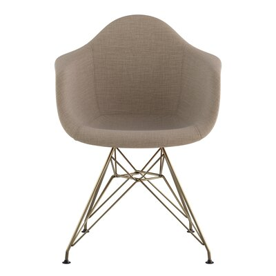 Eiffel Arm Chair Upholstery: Light Sand, Finish: Brass