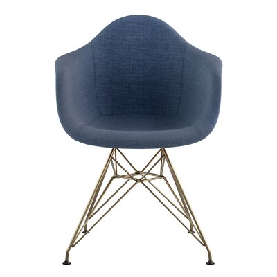 Eiffel Arm Chair Upholstery: Dodger Blue, Finish: Brass