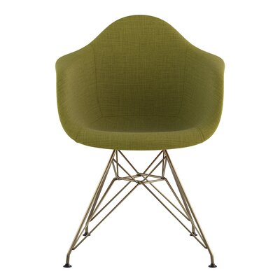 Eiffel Arm Chair Upholstery: Avocado Green, Finish: Brass