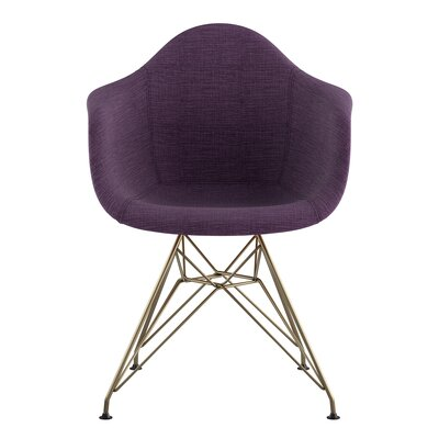 Eiffel Arm Chair Upholstery: Plum Purple, Finish: Brass