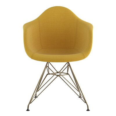 Eiffel Arm Chair Upholstery: Papaya Yellow, Finish: Brass
