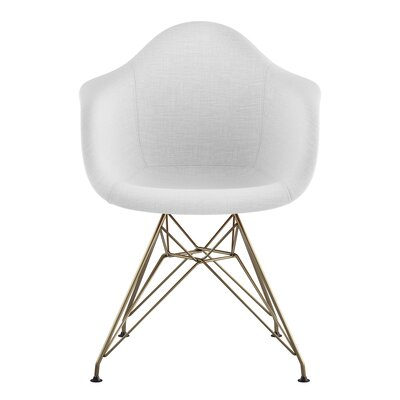 Eiffel Arm Chair Upholstery: Glacier White, Finish: Brass