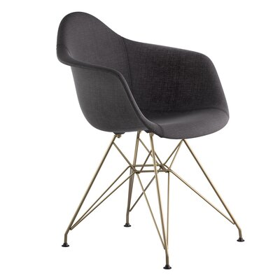 Eiffel Arm Chair Upholstery: Charcoal Gray, Finish: Brass