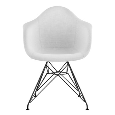 Eiffel Arm Chair Upholstery: Glacier White, Finish: Gunmetal