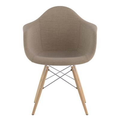 Dowel Arm Chair Upholstery: Light Sand, Finish: Nickel