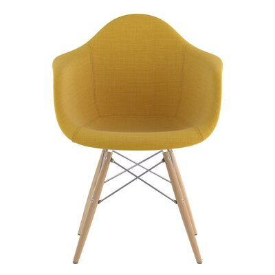 Dowel Arm Chair Upholstery: Papaya Yellow, Finish: Nickel