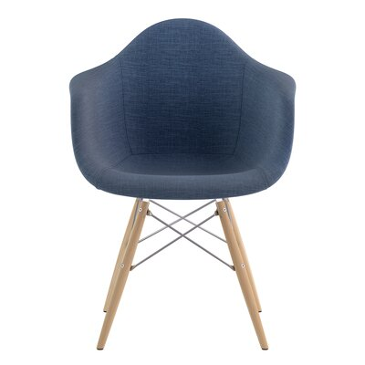 Dowel Arm Chair Upholstery: Dodger Blue, Finish: Nickel
