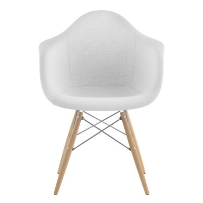 Dowel Arm Chair Upholstery: Glacier White, Finish: Nickel