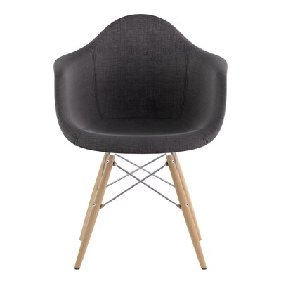 Dowel Arm Chair Upholstery: Charcoal Gray, Finish: Nickel
