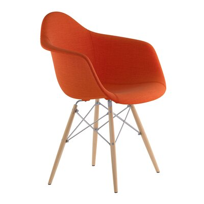 Dowel Arm Chair Upholstery: Lava Red, Finish: Nickel