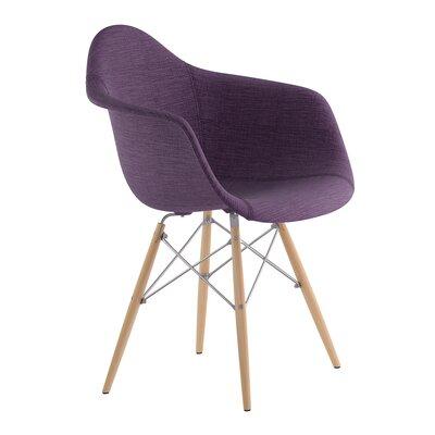 Dowel Arm Chair Upholstery: Plum Purple, Finish: Nickel