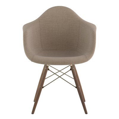 Dowel Arm Chair Upholstery: Light Sand, Finish: Brass