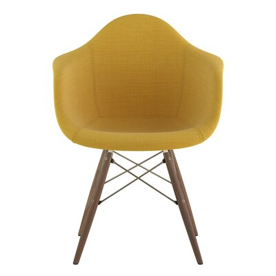 Dowel Arm Chair Upholstery: Papaya Yellow, Finish: Brass