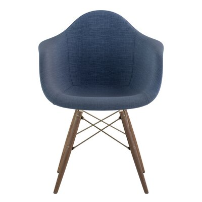 Dowel Arm Chair Upholstery: Dodger Blue, Finish: Brass