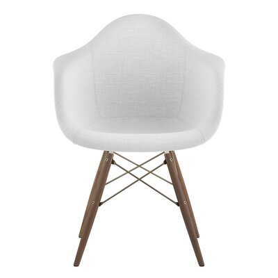 Dowel Arm Chair Upholstery: Glacier White, Finish: Brass