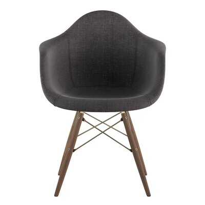 Dowel Arm Chair Upholstery: Charcoal Gray, Finish: Brass