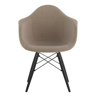 Dowel Arm Chair Upholstery: Light Sand, Finish: Gunmetal