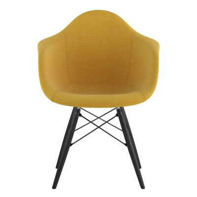 Dowel Arm Chair Upholstery: Papaya Yellow, Finish: Gunmetal