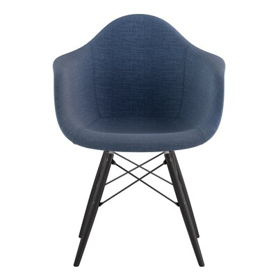 Dowel Arm Chair Upholstery: Dodger Blue, Finish: Gunmetal