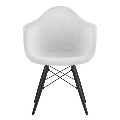 Dowel Arm Chair Upholstery: Glacier White, Finish: Gunmetal