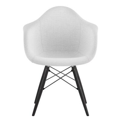 Dowel Arm Chair Upholstery: Glacier White, Finish: Gunmetal