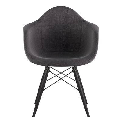 Dowel Arm Chair Upholstery: Charcoal Gray, Finish: Gunmetal