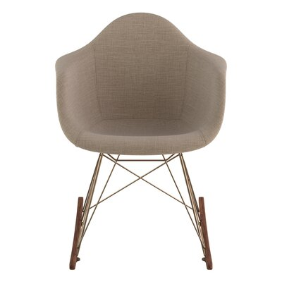 Arm Chair Upholstery: Light Sand, Finish: Brass