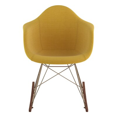 Arm Chair Upholstery: Papaya Yellow, Finish: Brass