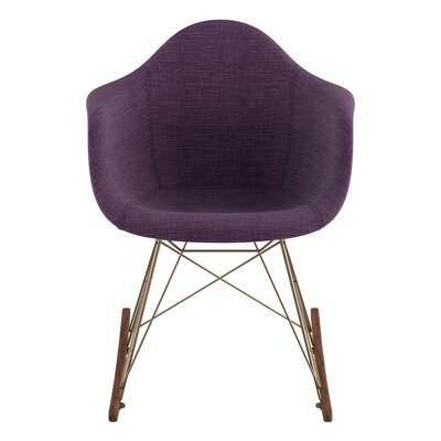 Arm Chair Upholstery: Plum Purple, Finish: Brass