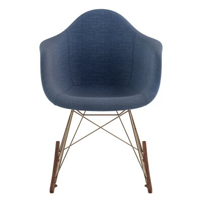 Arm Chair Upholstery: Dodger Blue, Finish: Brass