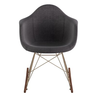 Arm Chair Upholstery: Charcoal Gray, Finish: Brass